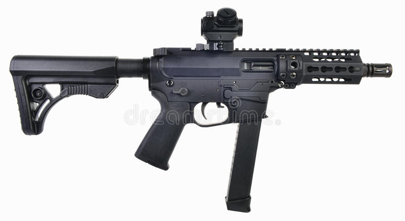 AR9 SBR with 33rd mag and colapsed stock, 5.5` barrel and optics royalty free stock photo