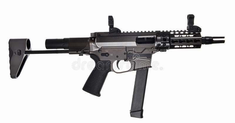 AR9 SBR with 33rd mag and extended stock and 5.5` barrel. AR9 SBR with 33rd magazine, extended collapsible stock, iron sights, 5.5` barrel royalty free stock photo