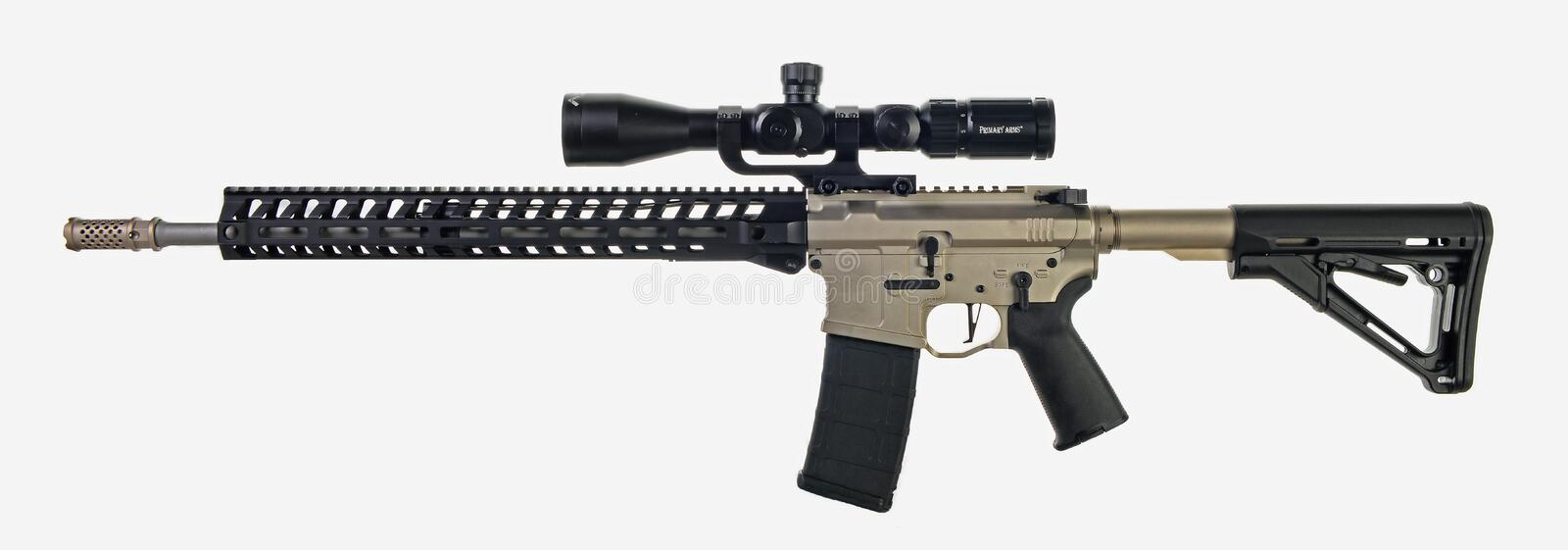 AR15 with scope, 30rd mag and collapsible stock stock image