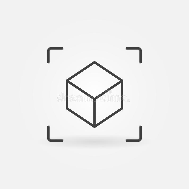 AR sześcianu liniowa ikona Wektor zwiększający rzeczywistość symbol ilustracji