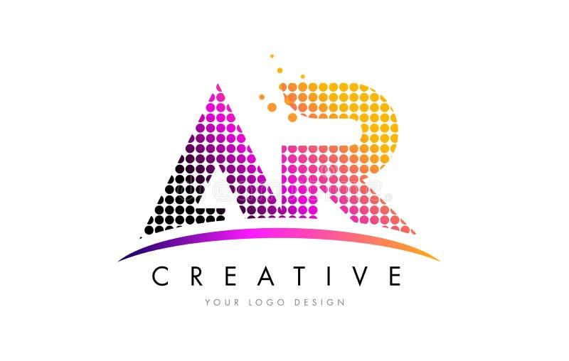 AR uma letra Logo Design de R com pontos magentas e Swoosh ilustração do vetor
