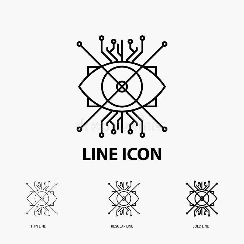 AR, Vermehrung, Cyber, Auge, Linse Ikone in der dünnen, regelmäßigen und mutigen Linie Art Auch im corel abgehobenen Betrag lizenzfreie abbildung