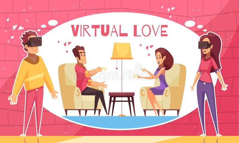 AR Virtual Love Background vector illustration