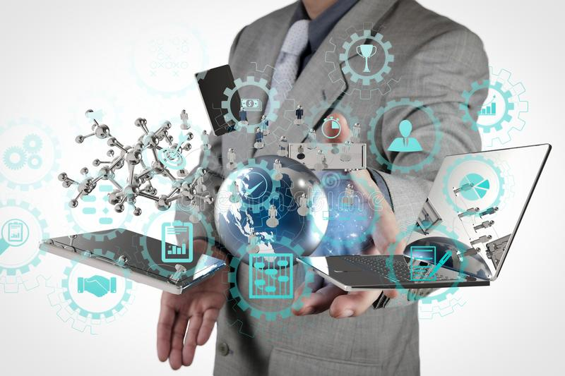 Businessman shows modern technology. AR virtual screen dashboard with project management with icons of scheduling, budgeting, communication.businessman shows stock images