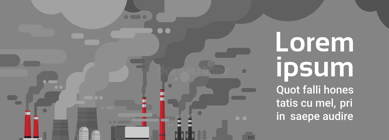Ar Waste sujo da tubulação da planta da poluição da natureza e ambiente poluído água ilustração royalty free