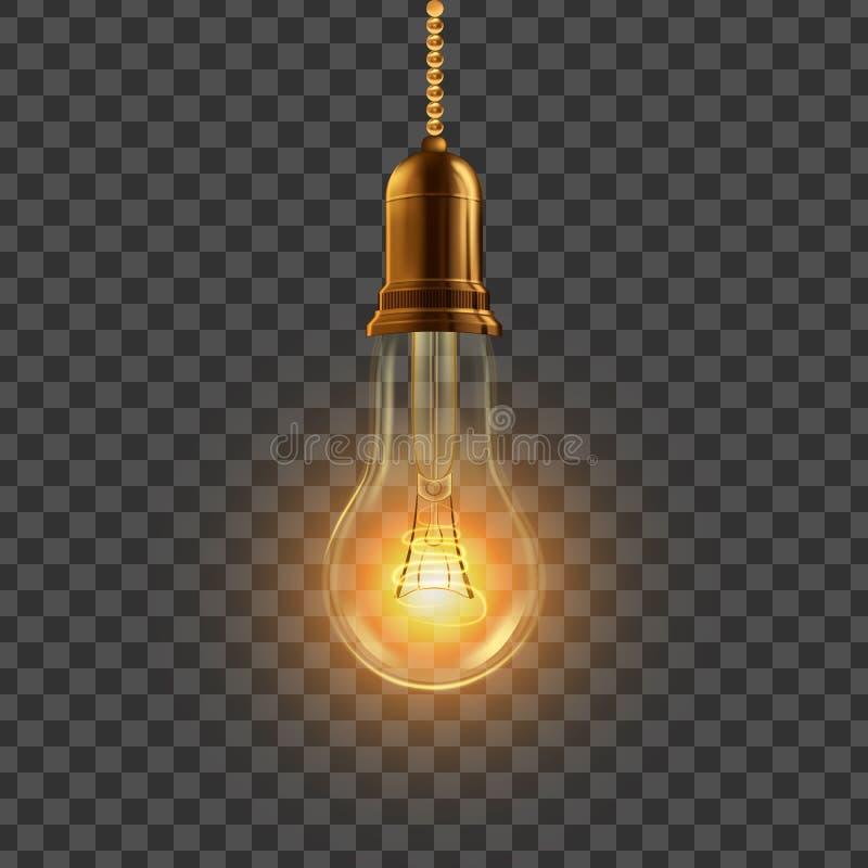 ?ar?wka wektor Wiszący Dekoracyjny żarówka symbol Luksusu styl 3D Realistyczna Przejrzysta ilustracja ilustracja wektor