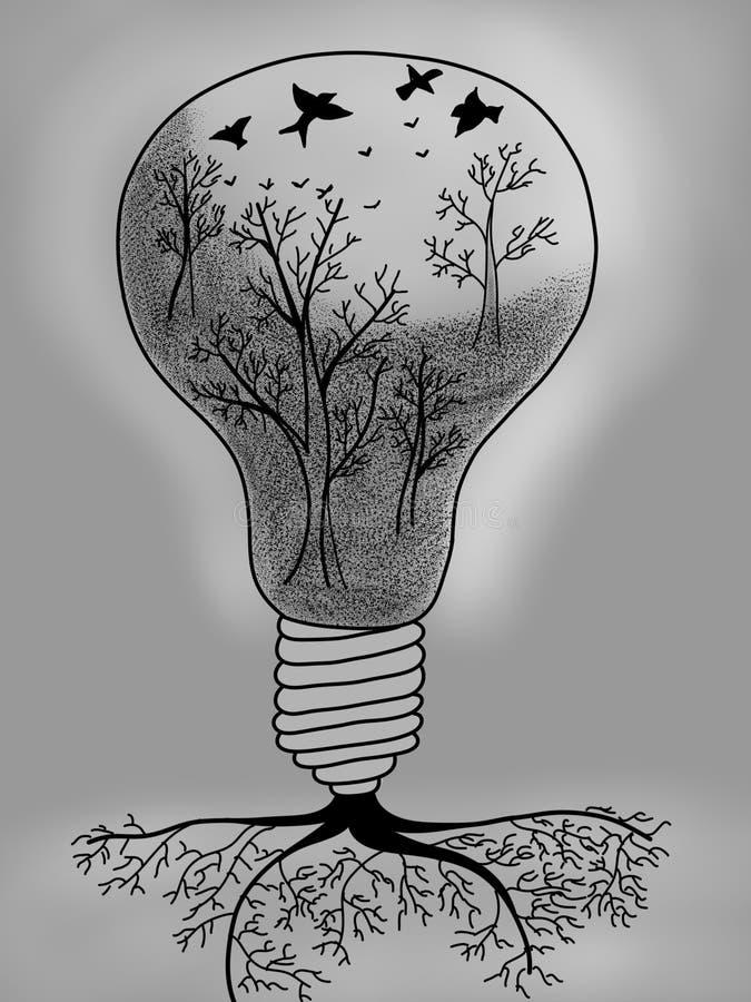 ?ar?wki inside ?wiat?a drzewo royalty ilustracja