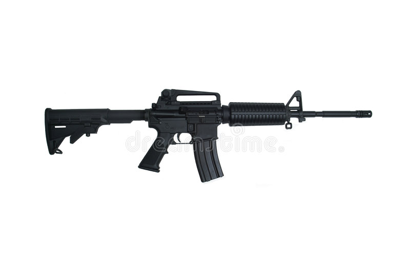 AR15 Assault Rifle Isolated on White stock photography