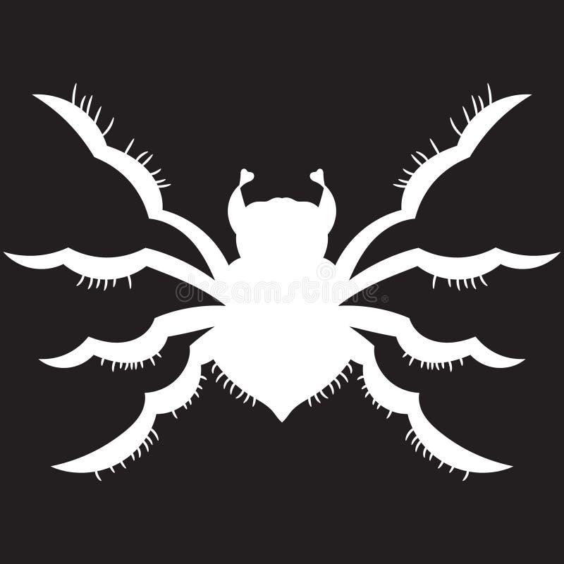 Araña blanca en un fondo negro Ilustración del vector Drenaje a mano ilustración del vector