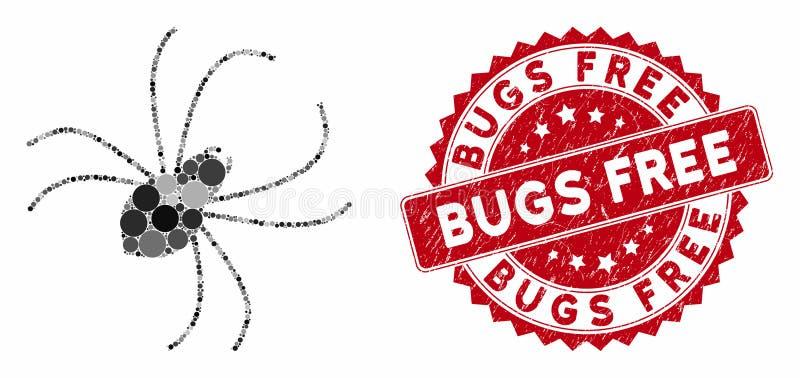 Araña de colección con sello libre de bugs rayados stock de ilustración