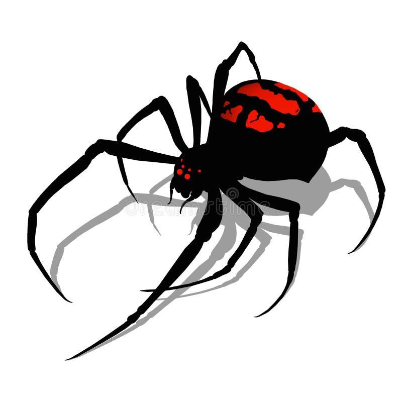 Araña de la viuda negra en diseño plano del fondo del aislante realista blanco del ejemplo El asesino de la araña de la viuda neg libre illustration