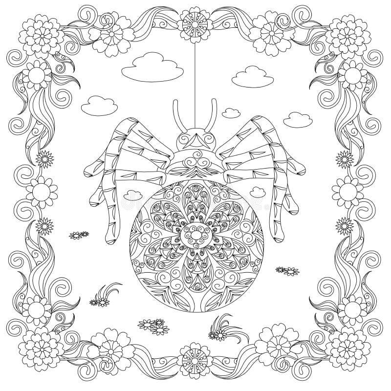 Araña del estilo de Zentangle en el bosquejo monocromático del marco de la flor, ejemplo común antiesfuerzo del vector de la pági libre illustration
