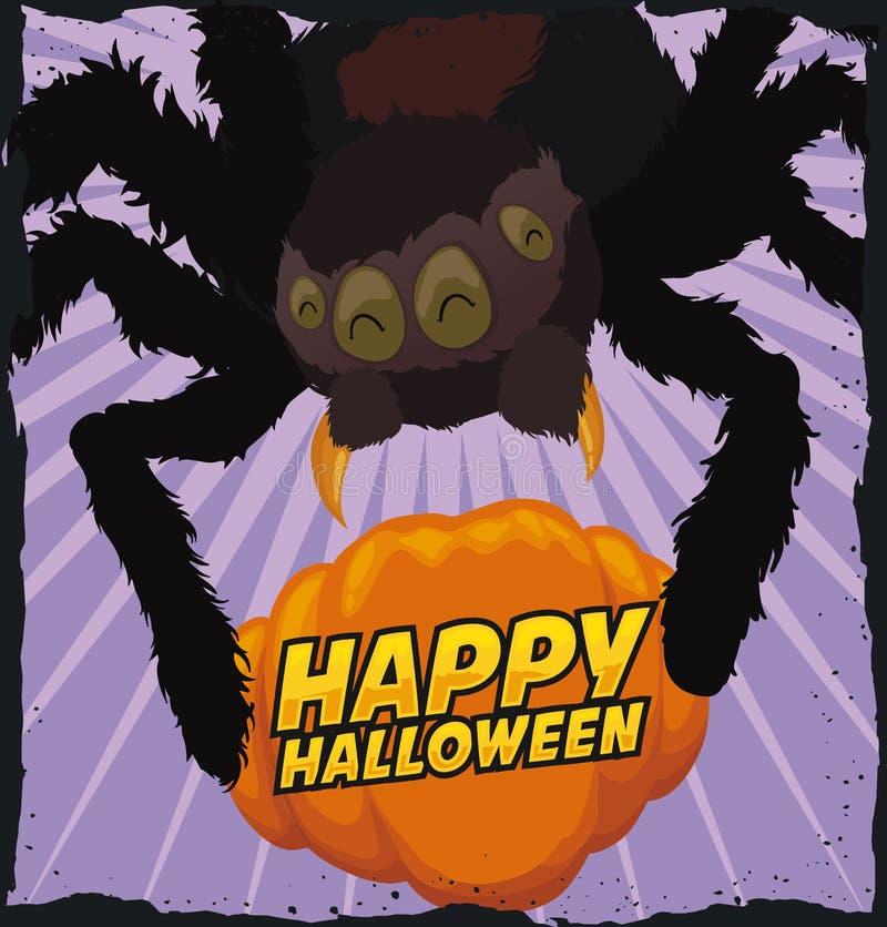 Araña divertida que atrapa una calabaza para Halloween, ejemplo del vector libre illustration
