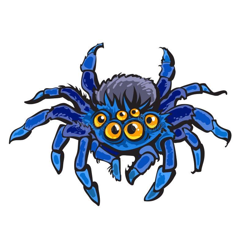 Araña gigantesca de la historieta Carácter de Halloween Ilustración drenada mano del vector libre illustration