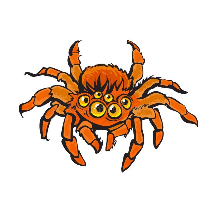 Araña gigantesca roja de la historieta Carácter de Halloween Vector drenado mano ilustración del vector