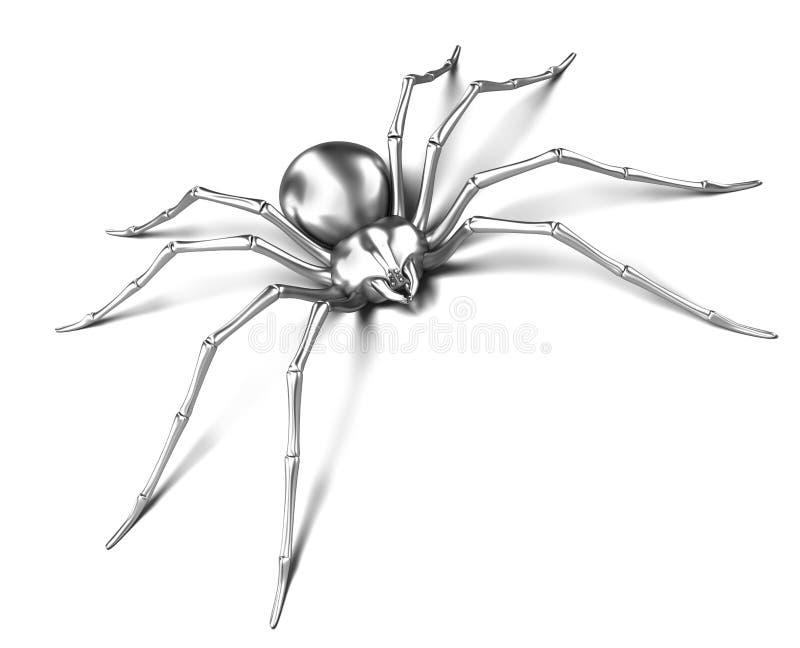 Araña - metálico de plata. Viuda negra ilustración del vector