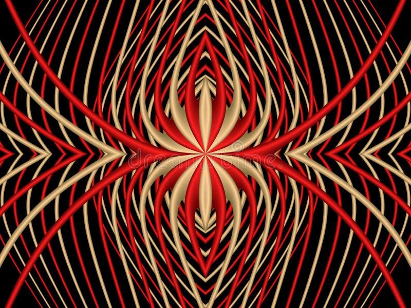 Araña roja Modelo simétrico abstracto de rayas rojas y amarillas en un fondo negro ilustración del vector