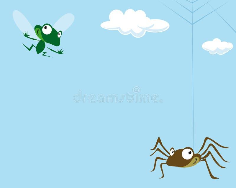 Araña y la mosca stock de ilustración