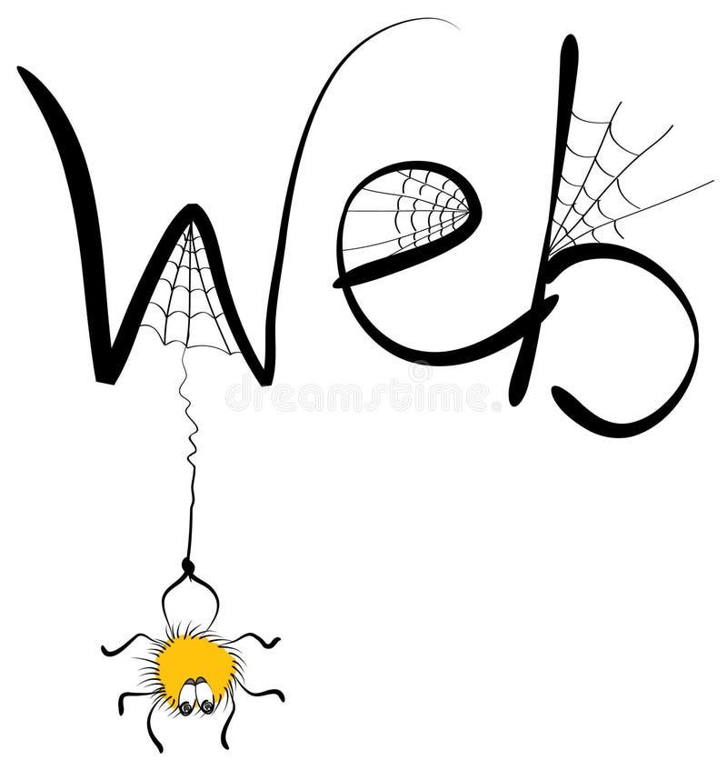 Araña y Web ilustración del vector