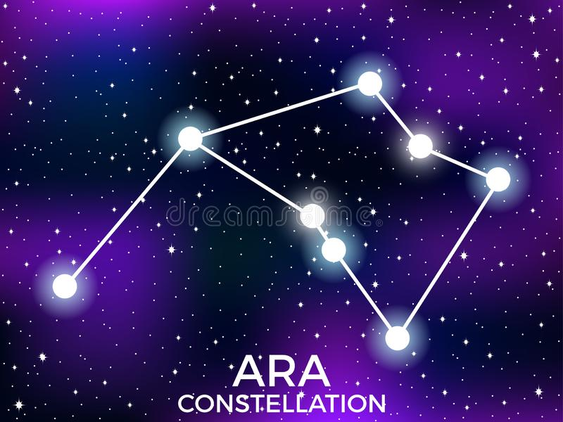 Ara constellation. Starry night sky. Cluster of stars and galaxies. Deep space. Vector. Illustration stock illustration