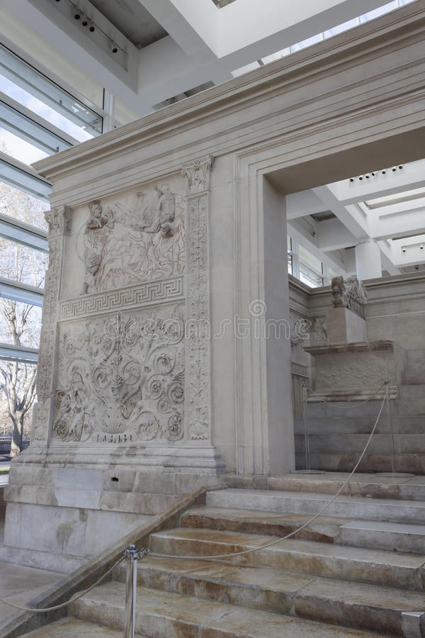 Ara Pacis Augustae - Rome. The Ara Pacis Augustae is an altar in Rome dedicated to the Roman goddess of Peace, Rome royalty free stock image