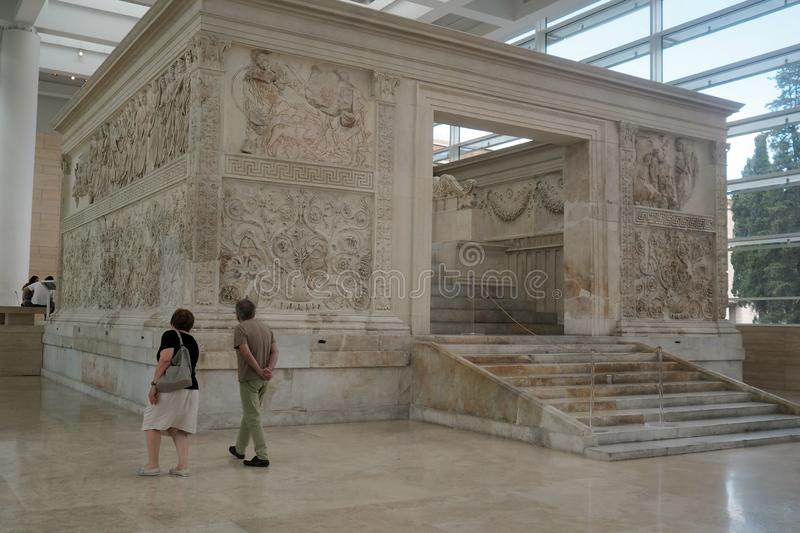 Ara Pacis museum in Rome, Italy. The Altar of Augustan Peace, commonly shortened to Ara Pacis in the new museum complex for the Ara Pacis in Rome Italy. The royalty free stock photo