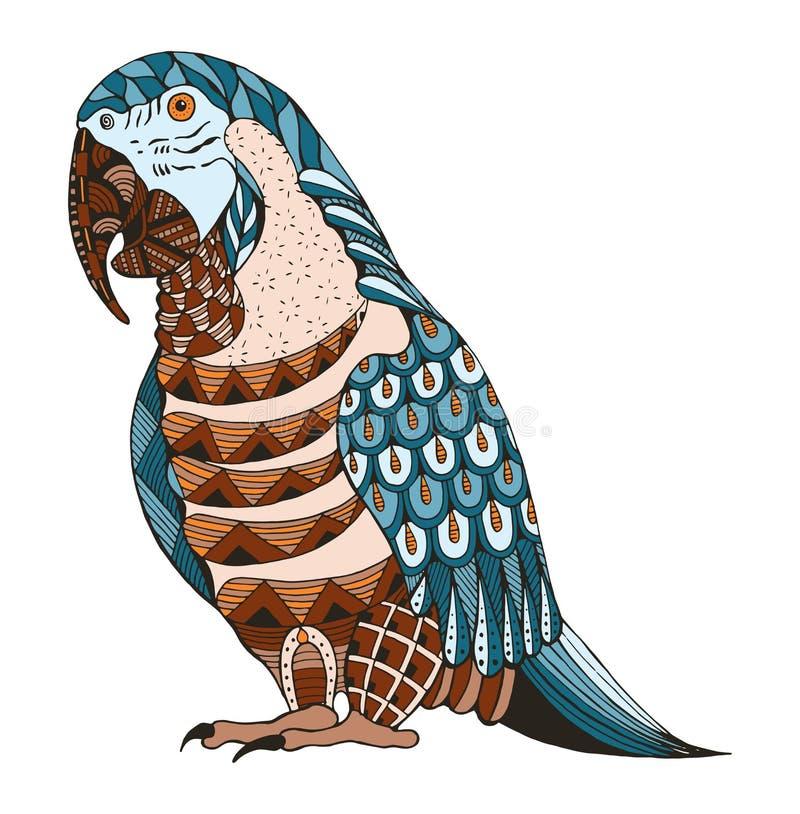 Ara parrot zentangle stylized, vector, illustration, pattern, fr royalty free illustration