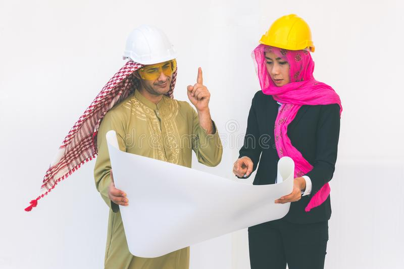 Arab architects are planning new project royalty free stock photos