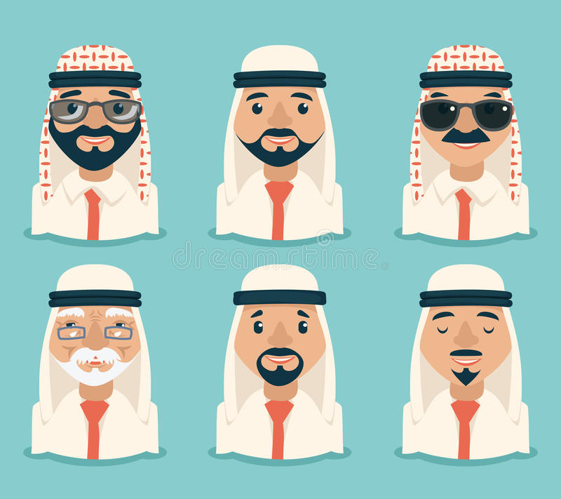 Arab Avatars Businessman Young Adult Old Retro Vintage Set Traditional National Muslim Clothes Cartoon Characters Icon vector illustration