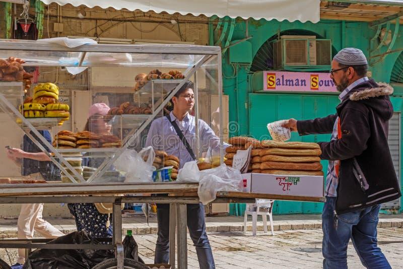 Arab bagels at old Jerusalem Market. Israel stock photo