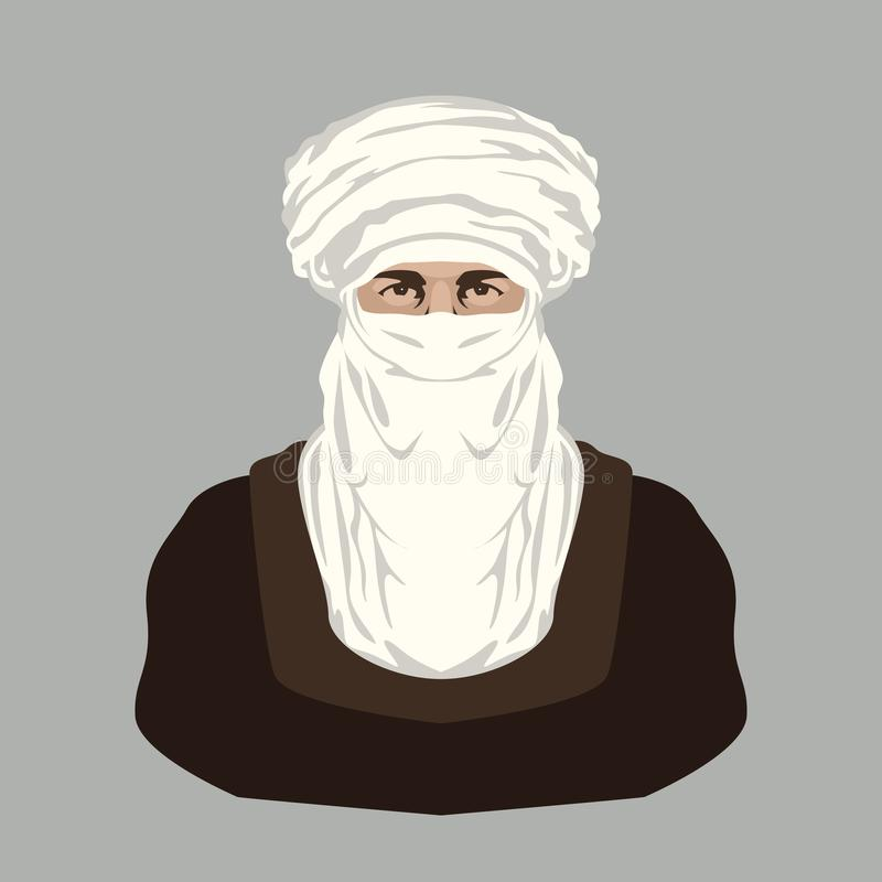 Arab Bedouin face vector illustration flat style front. View royalty free illustration