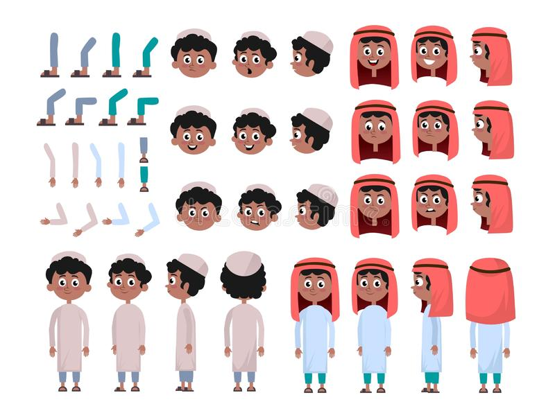 Arab boy character constructor set in flat style. Muslim boy DIY set with different facial expressions and moving arms and head. Arabic man wearing traditional stock illustration