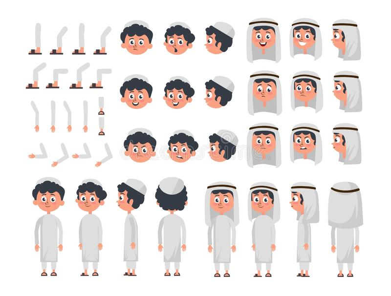 Arab boy character constructor set in flat style. Muslim boy DIY set with different facial expressions and moving arms and head. Arabic man wearing traditional royalty free illustration