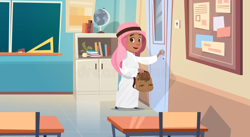 Arab Boy Opening School Door In Classroom Muslim Pupil Go To Classroom. Flat Vector Illustration stock illustration