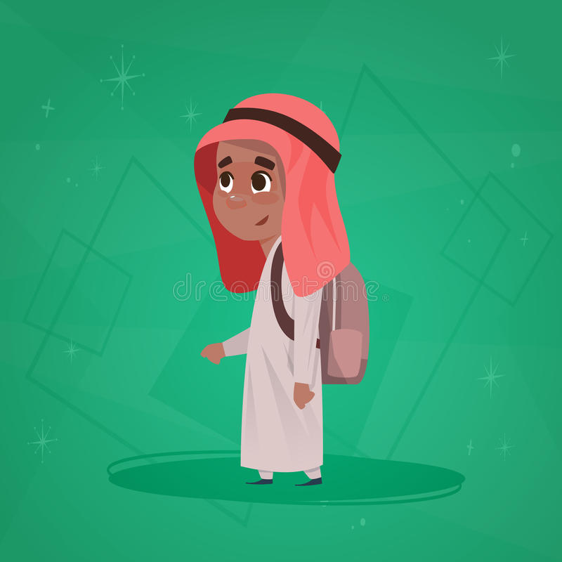 Arab Boy School Pupil Holding Backpack Small Cartoon Muslim Male Student. Flat Vector Illustration vector illustration