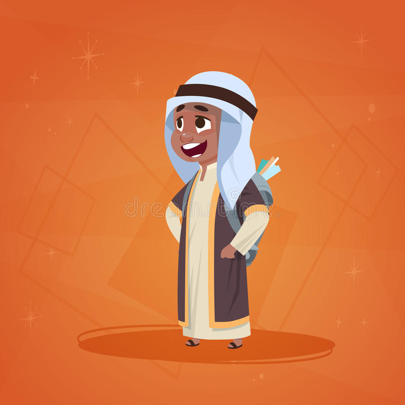 Arab Boy Small Cartoon Character Muslim Male. Flat Vector Illustration royalty free illustration