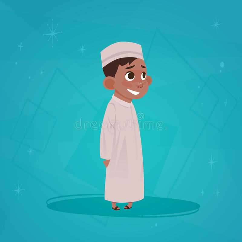 Arab Boy Small Cartoon Character Muslim Male. Flat Vector Illustration stock illustration
