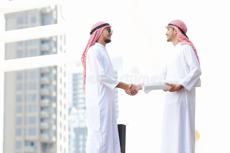 Arab business. Men working in the city royalty free stock photos