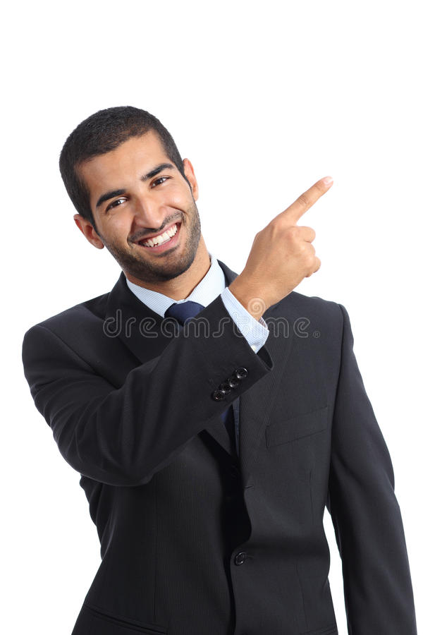 Arab business man presenter presenting and pointing at side. Isolated on a white background royalty free stock image