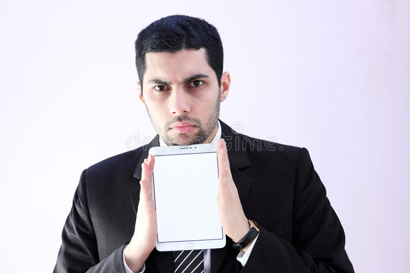 Arab business man with white tablet royalty free stock photo