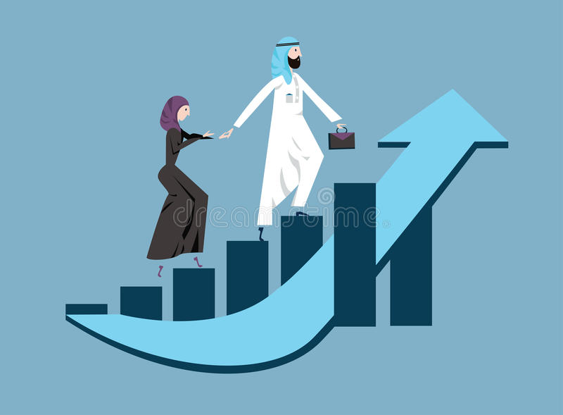 Arab business man and woman in arabian national dress walking up a rising graph of income growth. Vector illustration vector illustration