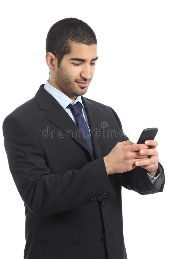 Arab business man working using a mobile phone royalty free stock image