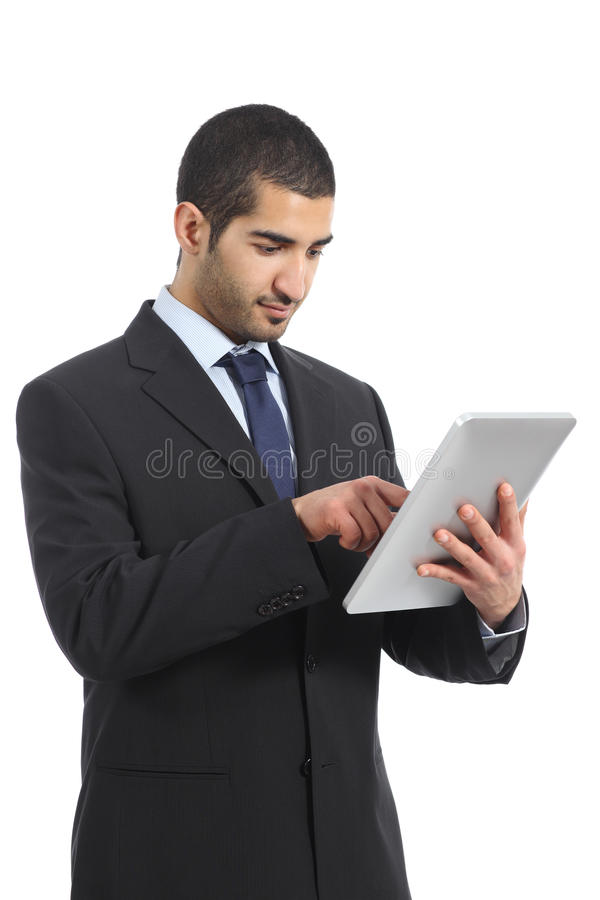 Arab business man working using a tablet. Isolated on a white background royalty free stock images