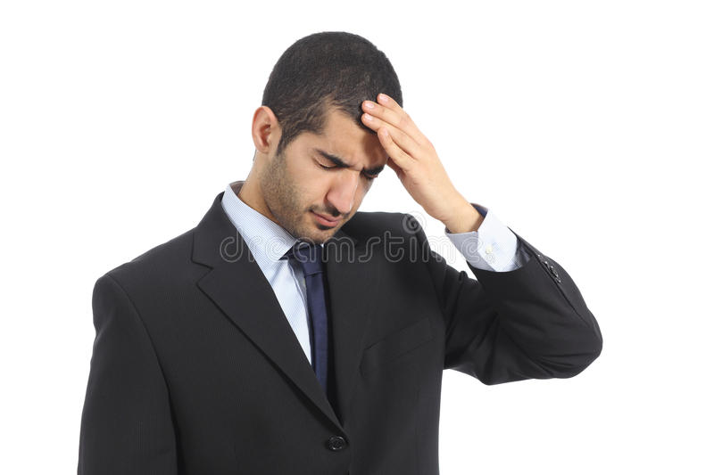 Arab business man worried with headache. Isolated on a white background royalty free stock photography