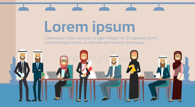 Arab business people group meeting together sit at office desk , muslim businesspeople team training brainstorming vector illustration