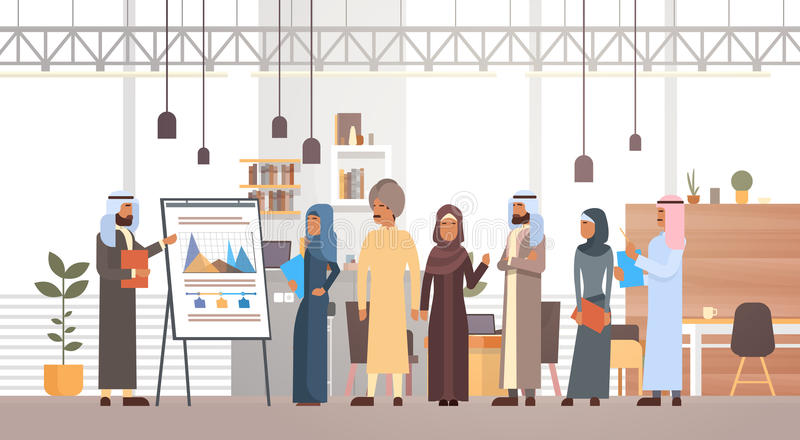 Arab Business People Group Presentation Flip Chart Finance, Arabic Businesspeople Team Training Conference Muslim. Meeting Flat Vector Illustration stock illustration