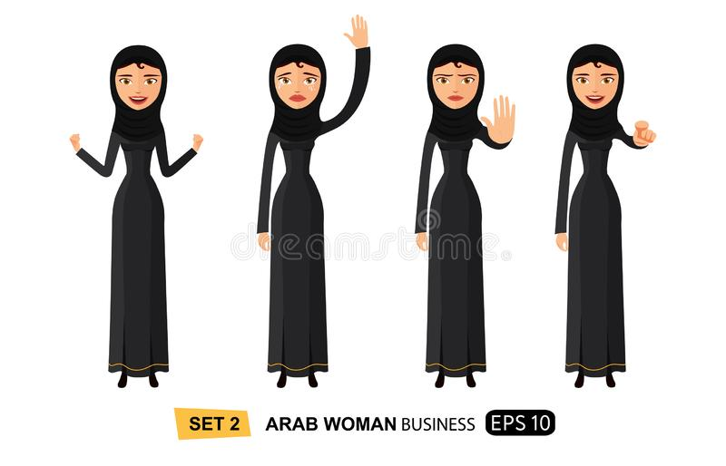 Emotions arab business woman waving hand goodbye showing stop gesture with hand serious business-lady vector illustration royalty free illustration