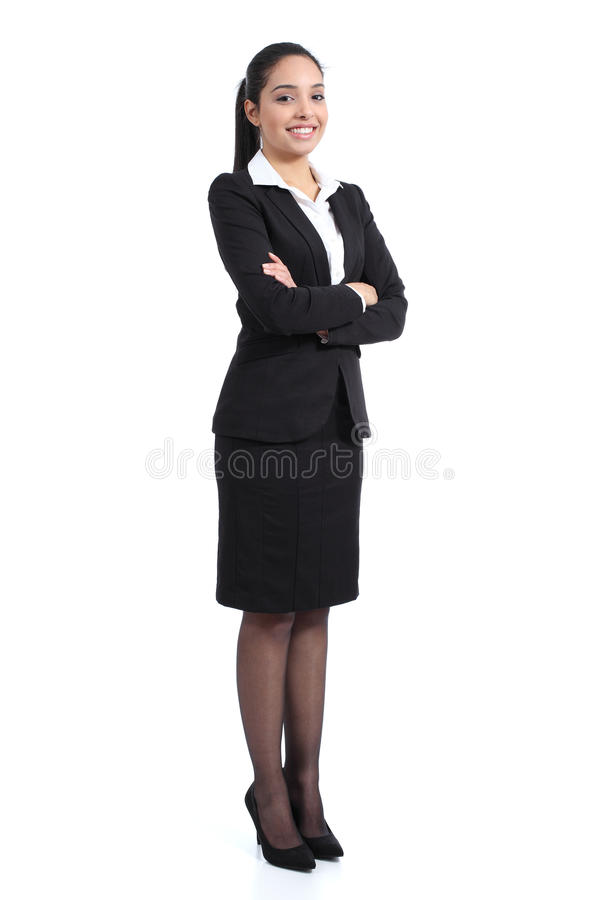 Arab business woman posing happy. Arab business standing confident woman posing happy isolated on a white background stock photography
