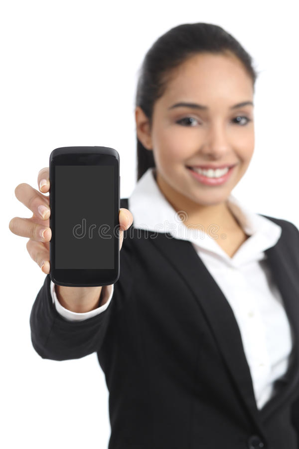Arab business woman showing a blank smartphone screen application. Isolated on a white background stock photo
