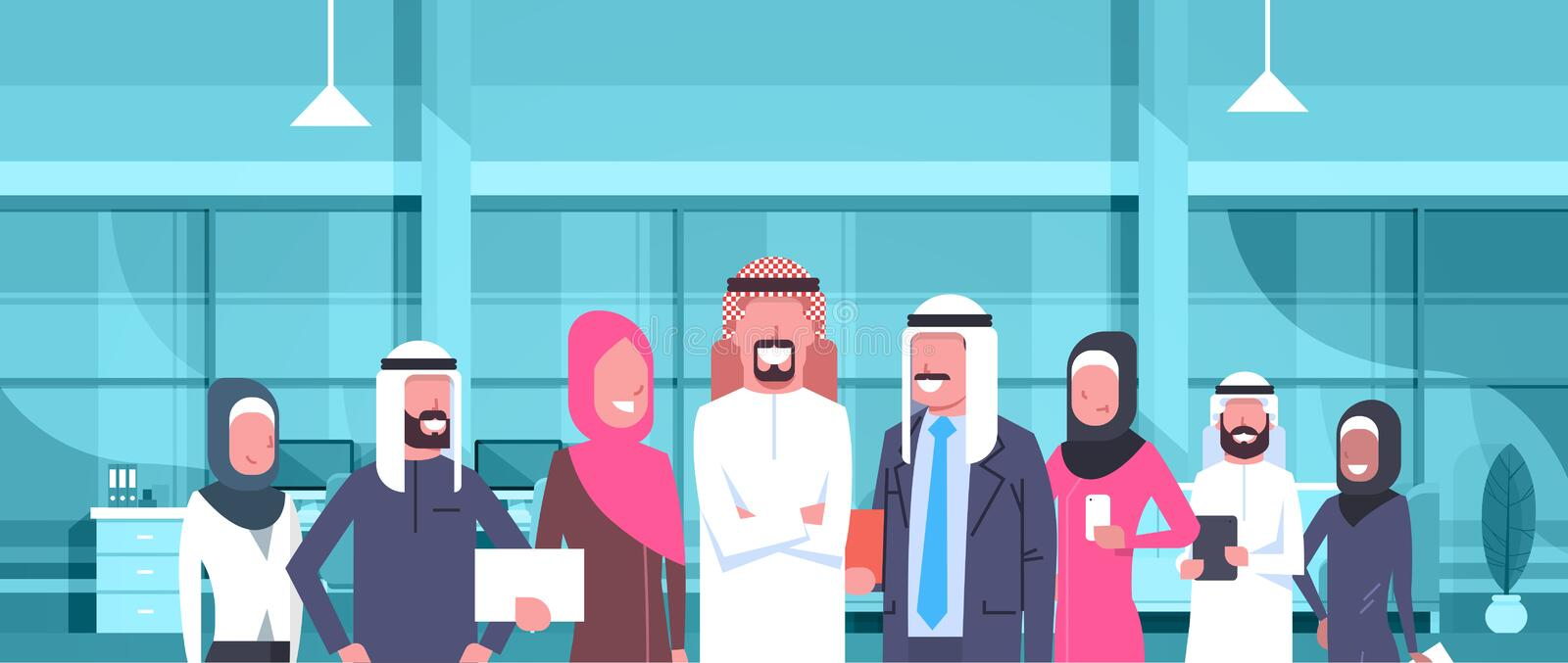 Arab Businessman Boss With Team Of Arabic Business People In Modern Office Wearing Traditional Clothes Arab Employees royalty free illustration